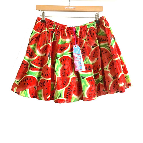 Red Retro Watermelon Print Swing Skirt