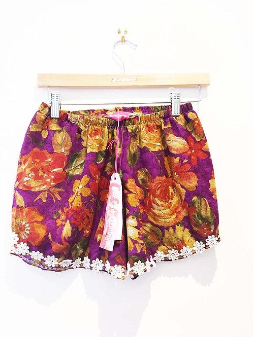 Purple Vintage Floral Print Pom Pom Shorts