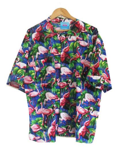 Kids Retro Blue Flamingo Print Shirt