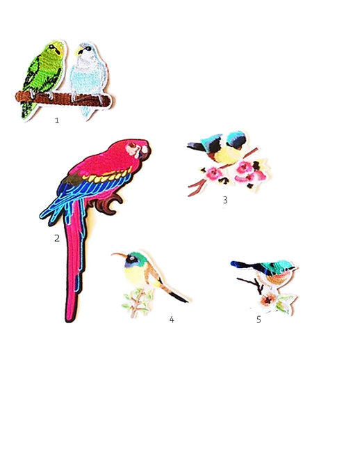Tropical Bird and Parrot Mixed Iron on Patches
