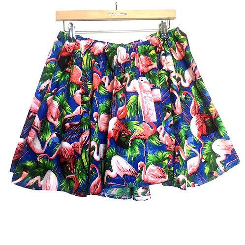 Royal Blue Retro Flamingo Print Swing Skirt