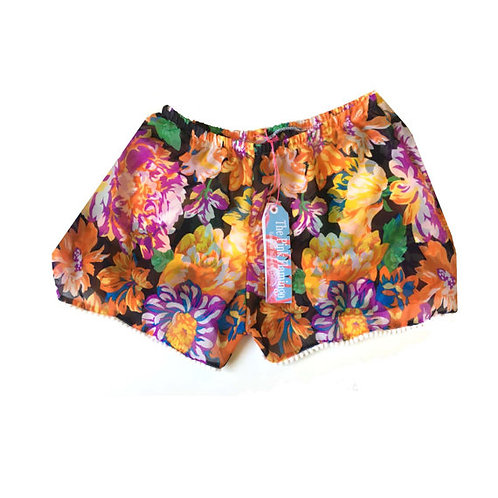 Autumn Floral Print Chiffon Pom Pom Shorts