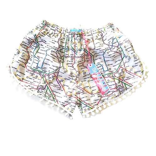 London Tube Map Print Pom Pom Shorts