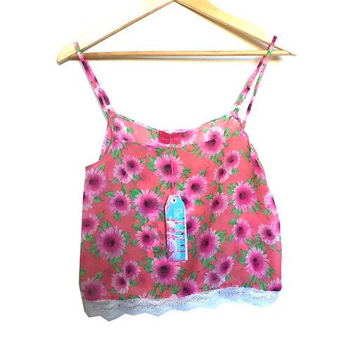 Pink Floral Print Chiffon Lace Trim Camisole