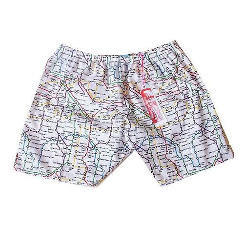 Men's London Tube Map Print Board Shorts