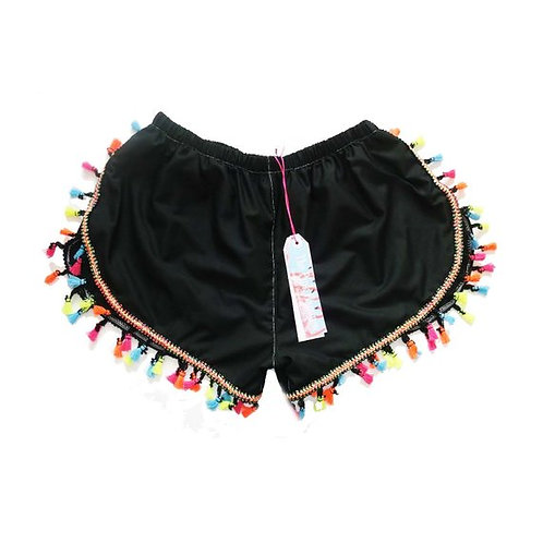 Black Cotton Lawn MultiColoured Tassel Trim Shorts