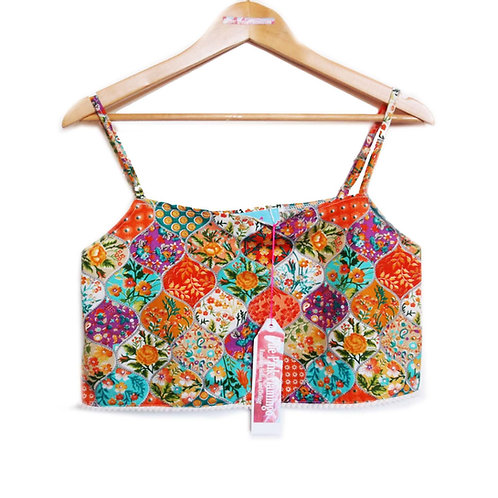 Orange Floral Bauble Print Pom Pom Braid Crop Top