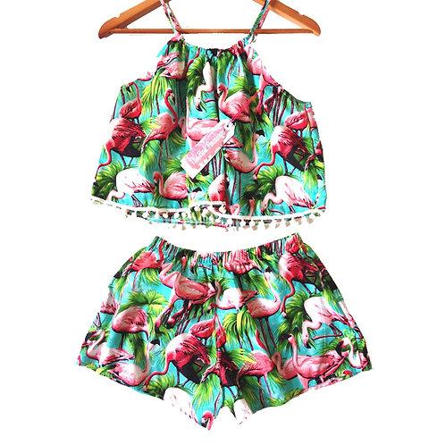 Green Retro Flamingo Print Halter Top and Shorts set