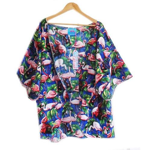 Royal Blue Retro Flamingo Print Slouchy Kimono