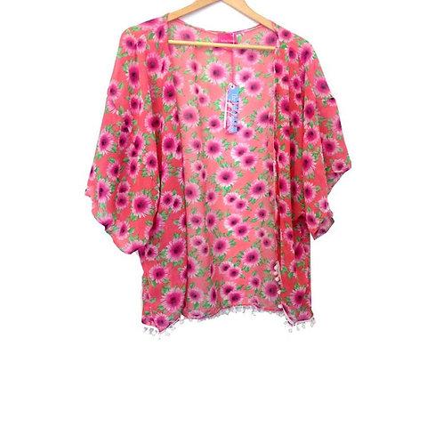 Girls Pink Floral Print Kimono