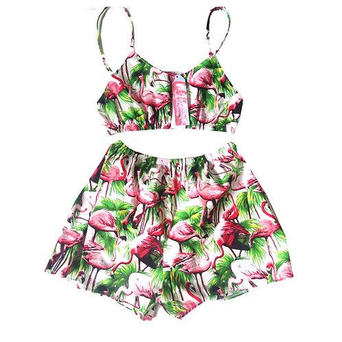 White Flamingo Print Bralet and Basic Shorts Set