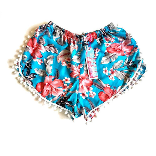 Turquoise Hibiscus Print Pom Pom Shorts