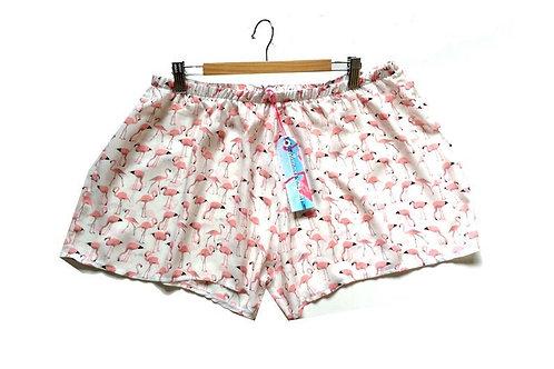 White and Pink Pastel Flamingo Pyjama Shorts