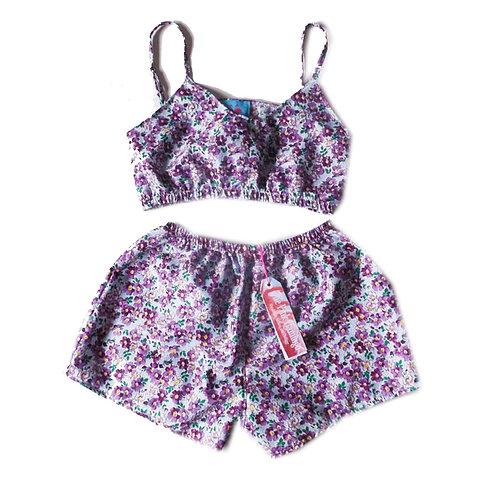 Purple Ditsy Floral Print Bralet and Basic Shorts Set