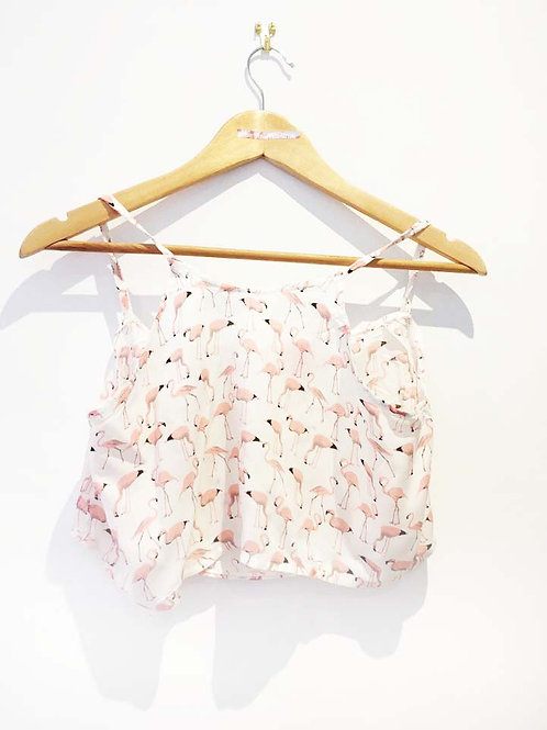 s10-12 Pink and White Flamingo Boxy Crop Top