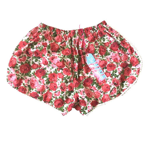 Red Rose Print Pom Pom Shorts