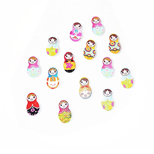 30 x Vintage Style Painted Russian Doll 2 hole Buttons