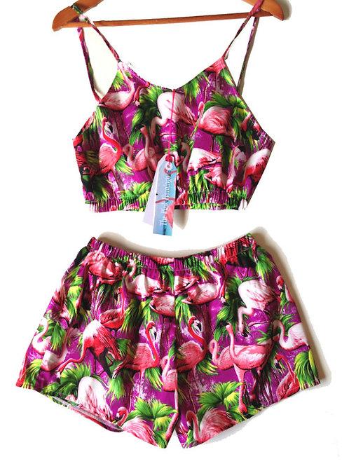 Purple Retro Flamingo Print Bralet and Basic Shorts Set