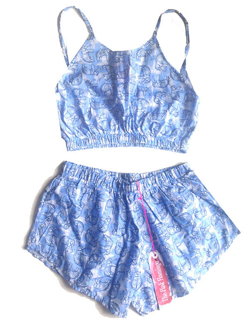 Blue Elephant Sketch Print Crop top and Basic Shorts Set
