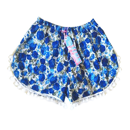 Blue Rose Print Pom Pom Shorts