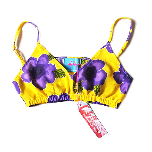 Yellow and Purple Floral Print Bralet