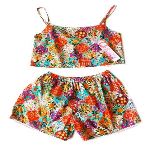 Orange Floral Bauble print Camisole and Basic Shorts Set