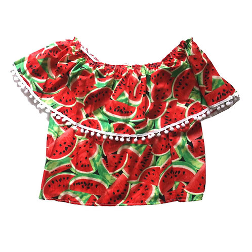 """Watermelon or Flamingo Print """"Off The Shoulder"""" Frill Top"""