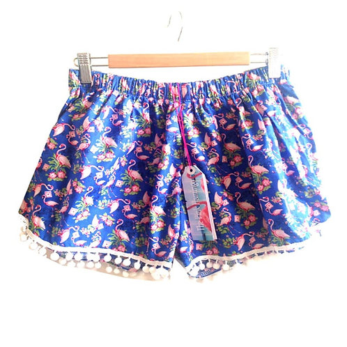 Royal Blue Vintage Flamingo Print Pom Pom Shorts