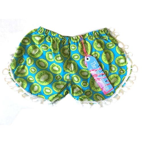 Children's Turquoise Kiwi Pom Pom Shorts
