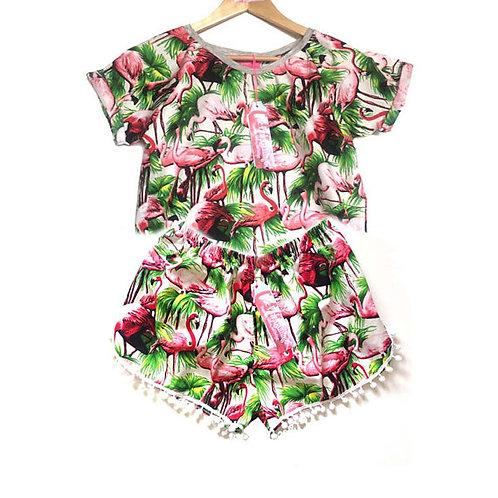 White Retro Flamingo Print Raglan Tee and Pom Pom Shorts Set