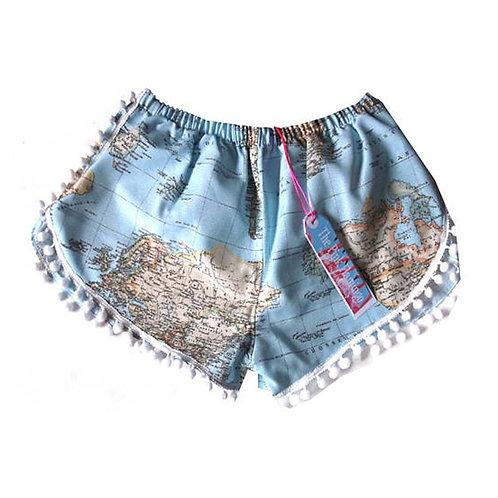 Vintage Style Atlas Print Pom Pom Shorts