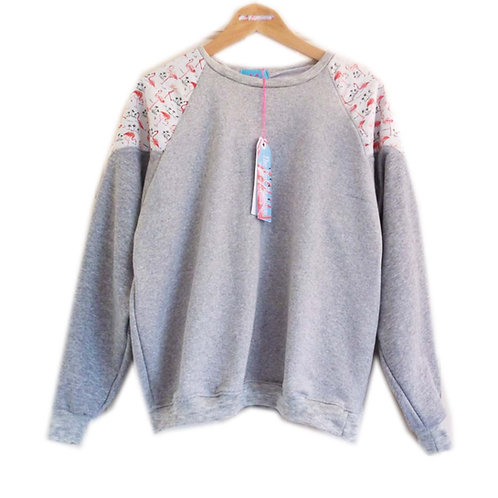 Pretty Pink Flamingo Print Raglan Sleeve Slouchy Sweater