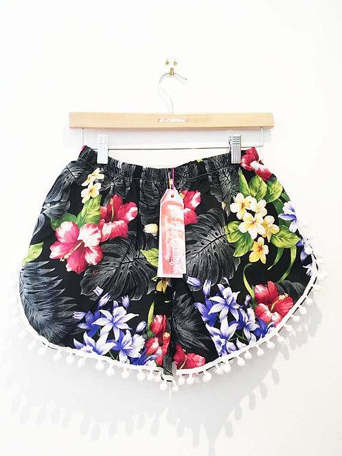 Grey Hibiscus Print Pom Pom Shorts