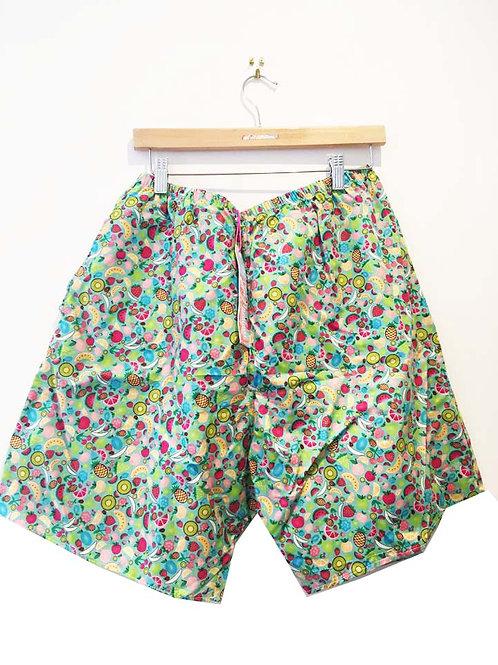 Green Fruit Salad Print Board Shorts with Pockets