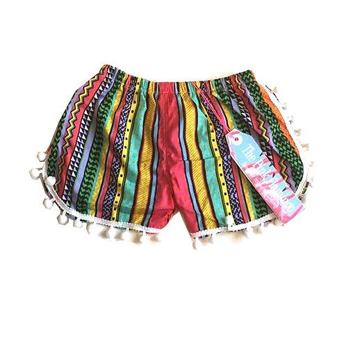 Children's Red Aztec Print Pom Pom Shorts