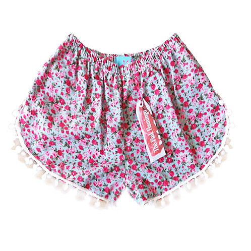 Pale Blue and Pink Ditsy Floral Print Pom Pom Shorts