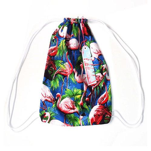 Retro Flamingo Print Drawstring Bag