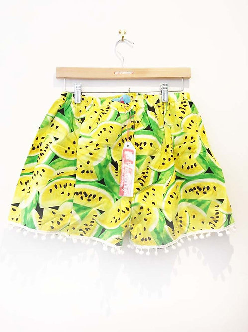 Yellow Retro Watermelon Print Basic Shorts