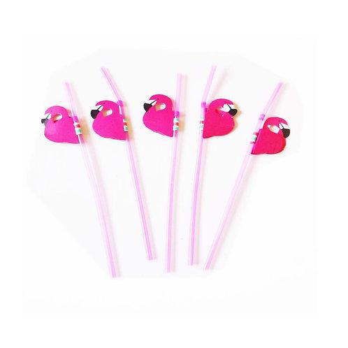 Neon Pink Flamingo Concertina Straws