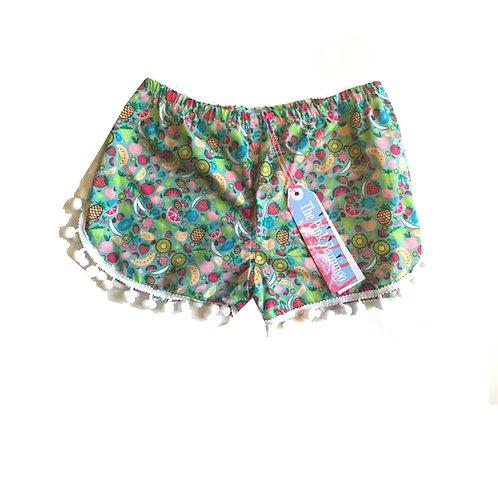 Turquoise Fruit Salad Print Pom Pom Shorts