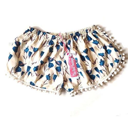 White and Blue Calla Lily Pom Pom Shorts