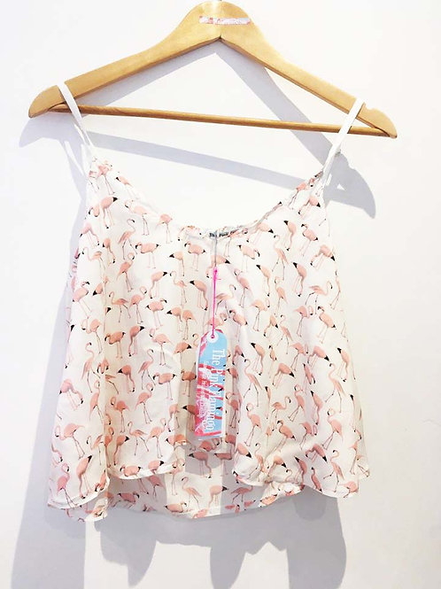 s14-16 Pink and White Flamingo Slouchy Viscose Camisole