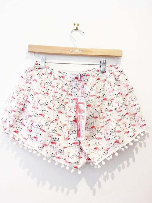 Ivory Flamingo Print Pom Pom Shorts