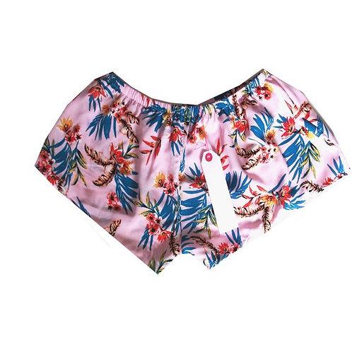 Pale Pink Tropical Print Basic Shorts