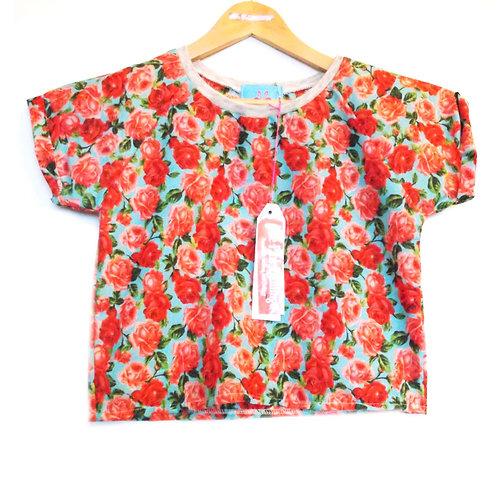 Turquoise and Red Rose Print Raglan Sleeve Tee