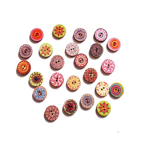 Vintage Style Round Painted 2 hole Buttons