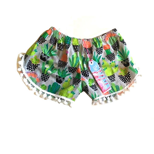 Grey Cactus Print Pom Pom Shorts