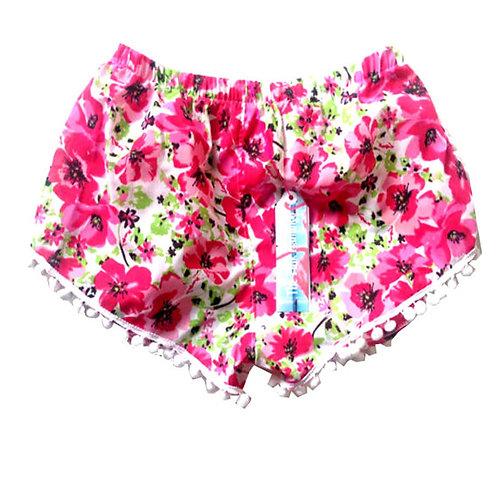 Pink Vintage Floral Print Pom Pom Shorts
