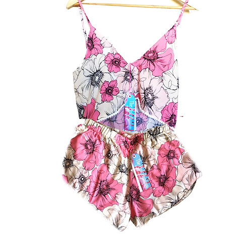 Pink Floral Sketch Print Pom Pom Camisole and Shorts set