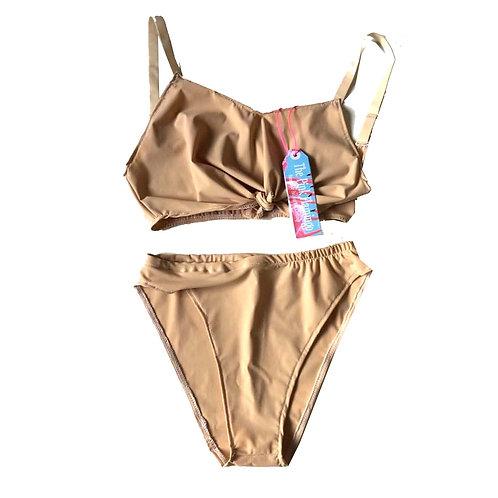 Nude Lycra Tie Front Bikini Set